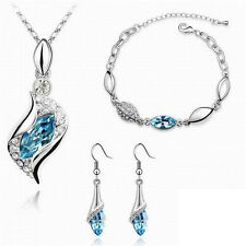 Silver Plated White Rhinestone Leaf Jewelry Set Necklace/Bracelet/Earrings
