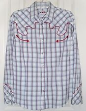 ROPER WOMEN'S WESTERN SHIRT SNAP FRONT RED, WHITE & BLUE CHECKED PLUS SIZE 1X