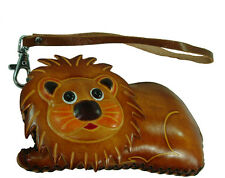 Real Leather Change Purse/Wallet, Credit/Id Cards Holder, A Lion Shape,Zipper