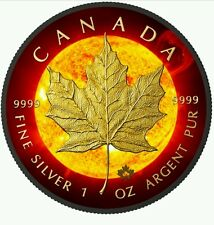 2015 Canadian Maple Solar Flare 1 oz $5 Fine Silver Coin - Ruthenium + 24K Gold