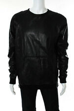 En Noir Mens Black Leather Laser Cut Shirt Size 2 Extra Large New 85278