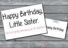 Personalised Funny Humorous Joke Comedy Sister Or Brother Birthday Card