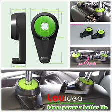 2x Car SUV Seat Headrest Green Holder Hanger Hooks For Bags Purse Cloth Grocery