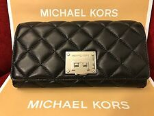 NWT MICHAEL KORS SOFT QUILTED LEATHER ASTRID CARRYALL WALLET - BLACK/SILVER-HDWR
