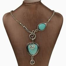 Nature Turquoise Vintage Heart Bib Collar Statement Pendant Stunning Necklace