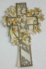 Vintage Victorian Easter Card Cross Die Cut Glitter Amazon Lily