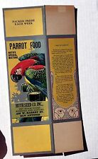 1920s Parrott Food Seed Box w/ Great Image of Parrot Unused