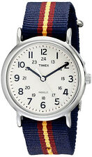 Timex Unisex Weekender Quartz Silver Tone Brass Striped Nylon Watch T2P234