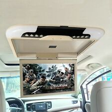 "13"" Car Ceiling Flip Down Overhead Roof Mount Digital Wide Screen Monitor Beige"