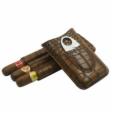 COHIBA BROWN CROCODILE LEATHER POCKET CIGAR CASE HOLDER 3 FINGER CW STEEL CUTTER