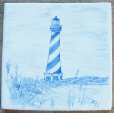 Hand painted 'Cape Hatteras Lighthouse in Blue' tile, handmade in  U.K.