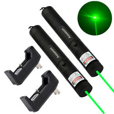 2Pc Powerful Best Selling Green Laser Pointer Pen 5mw 532nm Cat Toy+Batt+Charger