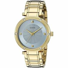 GUESS Women's U0695L2 Dressy Gold-Tone Diamond Accent Sky Blue Dial Watch