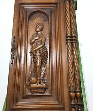CABINET PANEL DOOR ANTIQUE FRENCH CARVED WOOD NEOCLASSICAL WOMAN CARVING 19th b