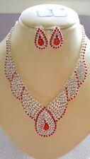 Colore Rosso e Bianco Diamante Collana e Orecchini Set Argento Colore Catena