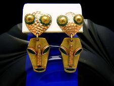 Vintage Signed Maya Mexico Copper Brass Ethnic Face Dangle Earrings Screw Backs