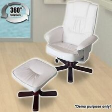Cream White Leather Swivel Office Chair Armchairs Recliner Chair & Foot Stool