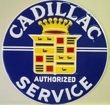 "CADILLAC AUTHORIZED SERVICE 24"" vintage style logo embossed metal sign rd-63-24"