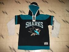 VINTAGE SAN JOSE SHARKS OLD TIME HOCKEY HOCKEY JERSEY HOODIE YOUTH / WOMANS XL