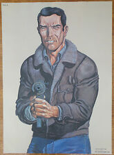 "VINTAGE POLIZIA ""Law Enforcement"" SHOOTING target GUNMAN ""L'UOMO GROTTA"" POSTER ANNI'90"