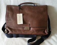 NWT Burberry Sandgate Briefcase Messenger Grain Leather Crossbody Flax Brown Tan