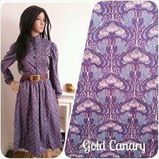 Vintage 70s Marion Donaldson Purple Liberty Art Nouveau Boho Cotton Dress 8 36