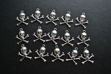 15 Skull and Cross Bones Tibetan Style Antique Silver Pirate Nautical Charms