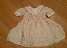 Pretty Vintage Girls Romany Peach Smocked Floral Dress Age 6-12 Months M&S