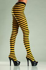 BLACK AND YELLOW STRIPE TIGHTS Ladies One Size Stockings COSTUME FANCY DRESS