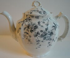 Wedgwood Antique c.1860 Celia Pattern Blue Gray Transfer ware Ironstone Teapot