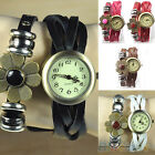 Womens Handmade Leather Knitted Bracelet Dial Quartz Analog Cute Wristwatch B5CU