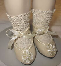 "French antique style shoes for French, German bisque doll 1 3/4"" long sz9"