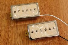 HUMBUCKER SIZED P90 PICKUP SET CREAM PEARLOID ENCASED IN CHROME