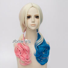 60cm Curly For Harley Quinn Blonde Pink Blue Mixed Anime Halloween Cosplay Wig