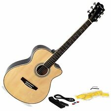 Martin Smith Electro Acoustic Cutaway Natural Guitar + Strap Lead Strings Plecs