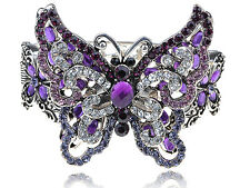 Purple Simple Crystal Rhinestone Butterfly Insect Bracelet WB Bangle Cuff