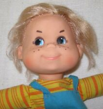 "1970's  Mattel Baby Beans ""Biffy"" 12"" Bean Bag Doll with Freckles & Overalls"
