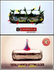 2x CHIPOTLE RESTAURANTS 2014 USA ANNIVERSARY BIRTHDAY COLLECTIBLE GIFT CARD LOT