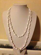 Vintage Style/Retro/White/Plastic/Bead Long Length/Necklace/1950/60s Look
