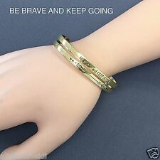 Gold Finish Be Brave And Keep Going Message Engraving Open Cuff Bangle Bracelet