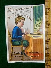 1870s-80s Atmore's Mince Meat & Plum Pudding, Lowell, MA Victorian Trade Card F8