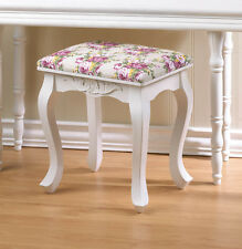 pink flower rose white wood bench wide padded cushion vanity seat stool ottoman