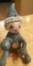 Vtg Mica German glitter Christmas holiday ornament pixie elf