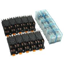 10 Set Led Bobina Power Relay ly2nj 12v Dc Dpdt 8 Pin hh62p jqx-13f + Socket Base
