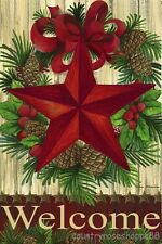 """HOUSE FLAG-WINTER Barn Star Country """"WELCOME"""" Wreath Pine Holly Berries 29 x 43"""