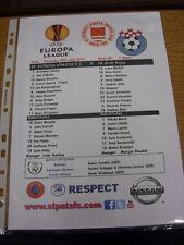 26/07/2012 Colour Teamsheet: St Patricks Athletic v NK Siroki Brijeg [Europa Lea