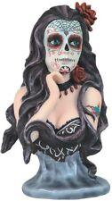 """6.75"""" Sugar Skull with Roses Dia de Los Muertos Santa Muerte Statue Holy Death"""