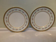 A Beautiful Pair of Charles Ahrenfeldt Gold Encrusted Dinner Plate  Pink Florals