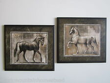 Horses Wall Decor Plaques, set of 2 elegant roman horse pictures, statue style