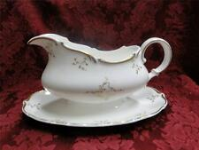 Royal Doulton Monteigne, White w/ Gold scrolls: Gravy Boat with Attached Plate